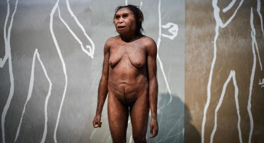 En model af en neandertalkvinde på et museum i Paris.