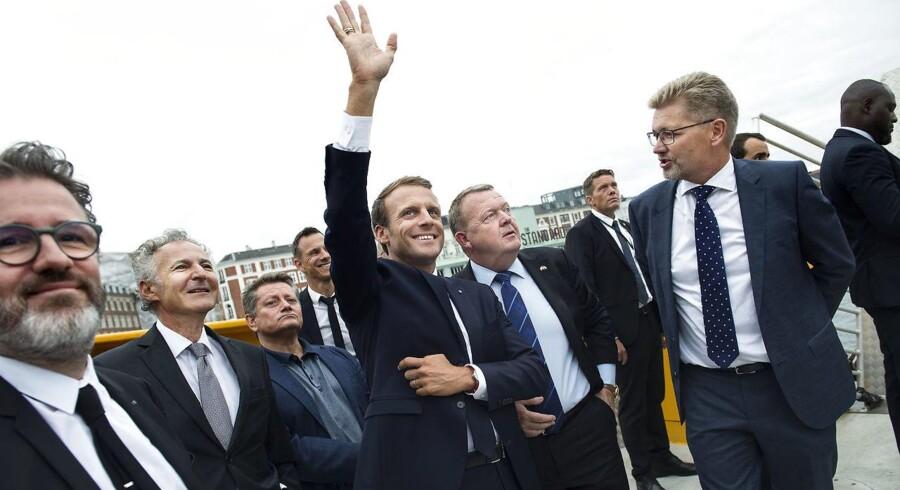 Den franske præsident Emmanuel Macron og Statsminister Lars Løkke Rasmussen på sejltur i Københavns havn i forbindelse med, at den franske præsident er på officielt statsbesøg i København, tirsdag den 28. august 2018.