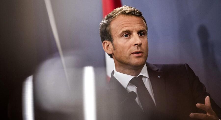 Emmanuel Macron og statsminister Lars Løkke Rasmussenunder afholder et pressemøde i Statsministeriet i forbindelse med, at den franske præsident er på officielt statsbesøg i København, tirsdag den 28. august 2018.