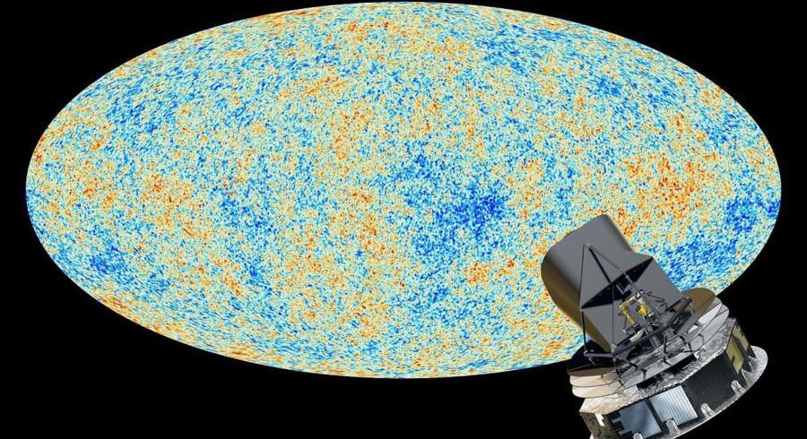 Den kosmiske mikrobølgebaggrund er gløden fra selveste Big Bang - det universelle fossil, om man vil. I kraft af bl.a. den europæiske Planck-satellit har man med målinger af gløden skabt kort som dette over universet som spæd. I de små variationer kan der gemme sig tegn på bl.a. et tidligere univers.