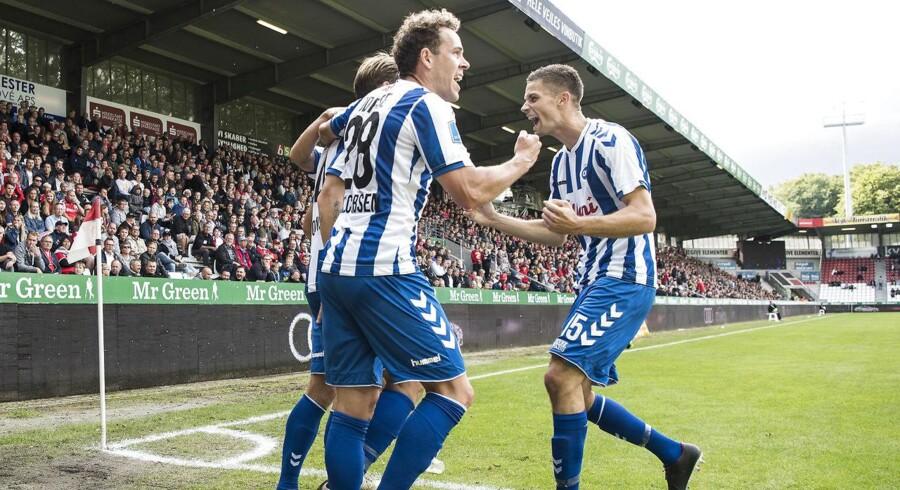 Jubel ved 0 - 1 scoringen ved Ryan Laursen (OB 4) Superliga Fodbold - Vejle Boldklub mod Odense Boldklub. Vejle Stadion søndag den 26 august 2018.. (Foto: Claus Fisker/Ritzau Scanpix)