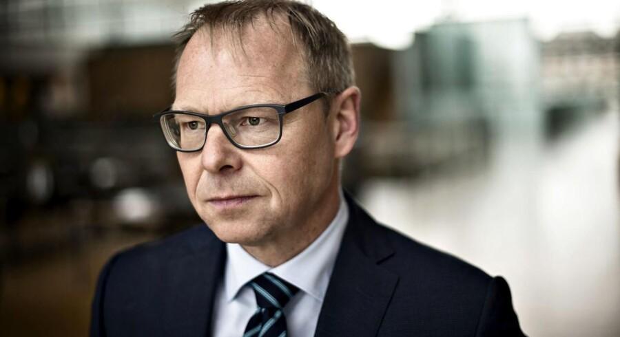 Koncernchef Michael Rasmussen er meget tilfreds med Nykredits halvårsresultat, selv om overskuddet faldt 2,1 mia. kr.
