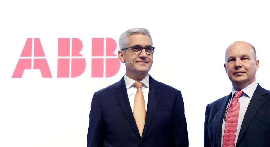 ARKIVFOTO af Ulrich Spiesshofer, ABB's adm. direktør, og selskabets CFO Timo Ihamuotila. Ifølge Bloomberg News overvejer selskabet at sælge sin elnet-division.