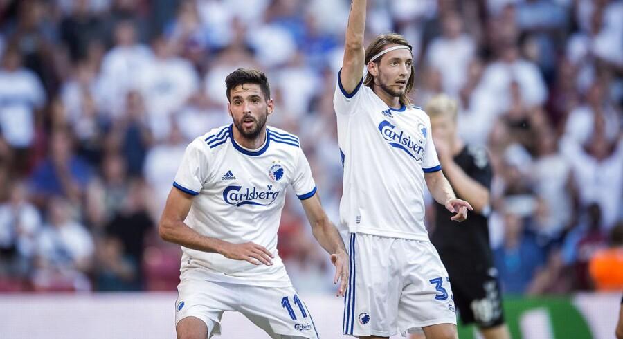 FCKs Kenan Kodro og Rasmus Falk under superligakampen mellem FCK-AC Horsens i Telia Parken mandag den 16 juli 2018.
