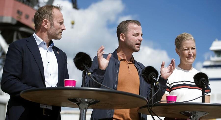 Morten Østergaard, Sofie Carsten Nielsen og Martin Lidegaard under De Radikales pressemøde i forbindelse med sommergruppemødet tirsdag.
