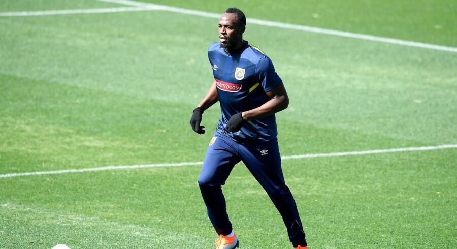 Usain Bolt var træt efter sin første rigtige fodboldtræning på lige fod med professionelle spillere.