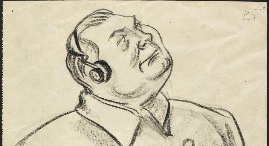 Det Kgl. Bibliotek har netop på auktion erhvervet tegneren Hans Bendix' enestående samling af portræt- og reportage-tegninger fra den historiske Nürnbergproces 1945-49, som De Allierede førte mod Nazi-Tysklands ledere efter 2. verdenskrig. Her ses Hermann Göring.