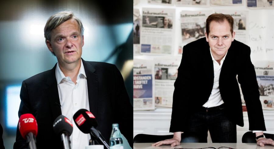 Chefredaktørerne Poul Madsen (th.), Ekstra Bladet, og Christian Jensen (tv.), Politiken, sigtes for at overtræde tavshedsforbud i sag om PET-bog.
