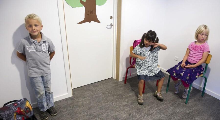 Flere forældre fravælger folkeskolen. Arkivfotoet viser første skoledag for de nye elever i 0. klasse på Druestrup Friskole i Tureby på Stevns.