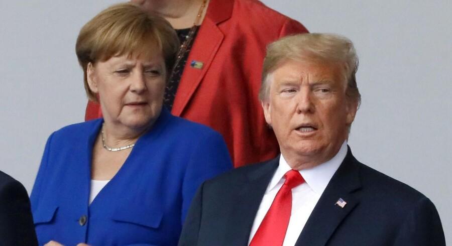 Den tyske kansler, Merkel, og den amerikanske præsident, Trump, ved begyndelsen af NATOs topmøde i Belgien 11. juli 2018.