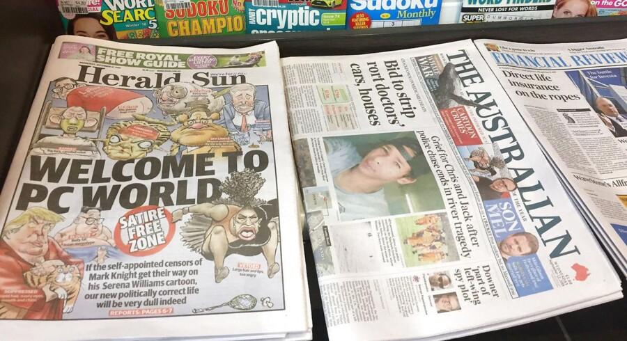 Avisen Herald Sun bragte en kontroversiel karikatur af en vred Serena Williams, som fik Twitter til at koge over i forargelse.
