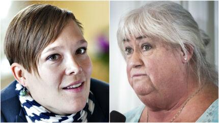 Socialdemokratiets ældreordfører, Astrid Krag, og ældreminister Thyra Frank (LA).