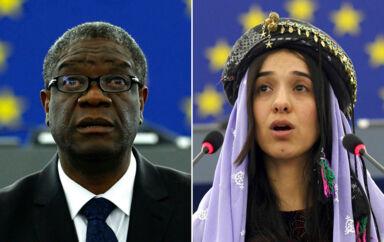 Doctor Denis Mukwege og Nadia Murad. Foto: AP Photos/Christian Lutz, file