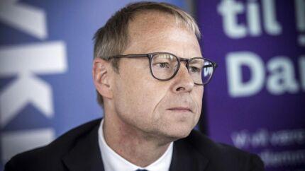 Nykredit-topchef Michael Rasmussen på pressemødet hos realkreditkæmpen, hvor købstilbuddet på 16,9 pct. af Nykredit fra fem pensionskasser blev offentliggjort.
