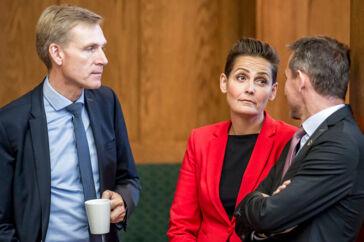 Kristian Thulesen Dahl (DF), Pia Olsen Dyhr (SF) og Kristian Jensen (V) under åbningsdebatten i Folketinget på Christiansborg i København, torsdag den 4. oktober 2018.. (Foto: Mads Claus Rasmussen/Ritzau Scanpix)