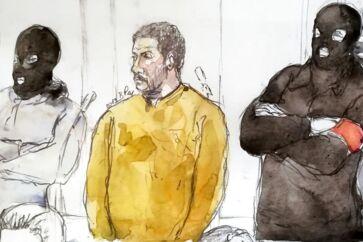 En retstegning viser Mehdi Nemmouche, der er tiltalt for at stå bag et terrorangreb begået på Det Jødiske Museum i Bruxelles i 2014. Den 33-årige franskmand med algeriske rødder risikerer livstid, hvis han kendes skyldig i dag.