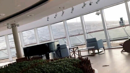 Furniture is seen while a cruise ship Viking Sky is listing, after an engine failure, Hustadvika, Norway March 23, 2019, in this still image obtained from a social media video. ALEXUS SHEPPARD/via REUTERS ATTENTION EDITORS - THIS IMAGE HAS BEEN SUPPLIED BY A THIRD PARTY. MANDATORY CREDIT.NO RESALES.NO ARCHIVES