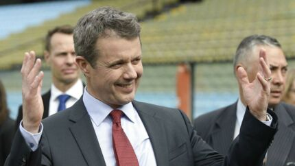 """Crown Prince Frederik of Denmark gestures while visiting Argentina's Boca Juniors football team stadium """"Bombonera"""" in Buenos Aires on March 19, 2019. - Danish Royals are in an official visit to Argentina. (Photo by JUAN MABROMATA / AFP)"""