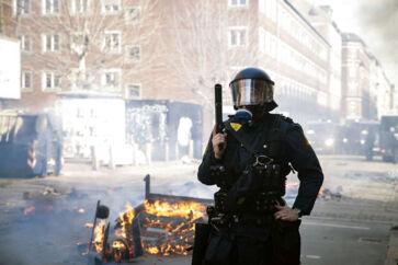 Uroligheder på Nørrebro i København, efter at den kontroversielle partistifter Rasmus Paludan har afholdt demonstration i området søndag den 14. april 2019. (Foto: Mathias Øgendal/Scanpix 2019)