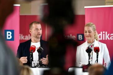 Morten Østergaard og Sofie Carsten Nielsen. Radikale Venstre holder pressemøde under sommergruppemødet på DI Konferencecenter i Nyborg onsdag. (Foto: Mads Claus Rasmussen/Scanpix 2019)