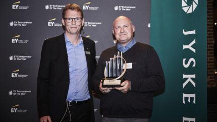 Set fra venstre:1. Henrik Holst Elstrøm (erhvervskundedirektør i Vækstfonden – jurymedlem)2. (Vinder) Michael Hjort, NTG Continent