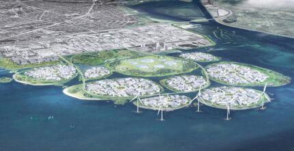 Visualisering af det nye »Holmene« set fra luften. De nye holme skal ifølge visionen bygges op fra havbunden med overskydende jord fra andre byggeprojekter i københavnsområdet. PR-foto, Hvidovre Kommune
