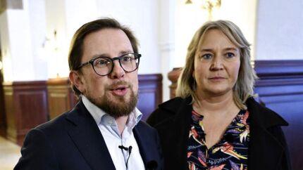 Christina Egelund og Simon Emil Ammitzbøll-Bille ses her på Christiansborg efter nyheden om, at de tidligere profiler for Liberal Alliance stifter partiet Fremad, torsdag den 7. november 2019.