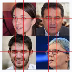 I sit arbejde med at udgrave netværket om The Beauty of Life og Epoch Media Group opdagede Sarah Thompson en bestemt geometri i de GAN-genererede ansigter. Lige meget om ansigtet kiggede ligeud, til højre eller til venstre, var øjnene placeret på præcis samme punkt i den 1024 x 1024 billedramme. Lægger man billederne oven på hinanden, vil øjnene alle være på samme sted.