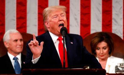 Vicepræsident Mike Pence, her bag ved præsident Donald Trump, rejste sig flere gange og klappede af sin præsident under hans tale. Nancy Pelosi, Demokratenes leder i Repræsentanternes Hus, sad til gengæld det mest af tiden med udtryksløst ansigt, spids mund og uden at klappe.