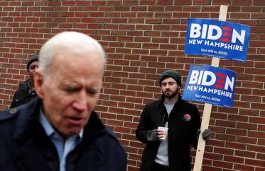 Det er for øjebliket total nedtur for vicepræsident Joe Biden, der står til endnu et dårligt resultat ved dagens primærvalg i New Hampshire.