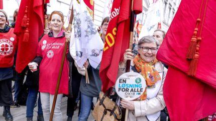 Demonstration foran Forligsinstitutionen på Sankt Annæ Plads i København, lørdag den 14. april 2018. (Foto: Bax Lindhardt/ Scanpix 2018)