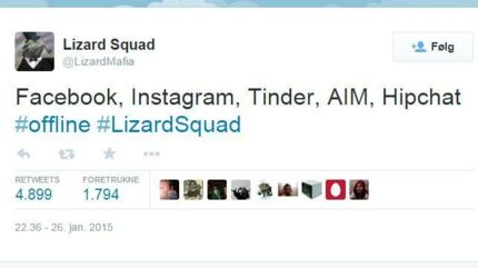Hackergruppen Lizard Squad har taget ansvar for angrebet på Facebook og en række andre tjenester. Ekspert vurderer det muligt, at gruppen står bag. Foto: Screendump/Twitter