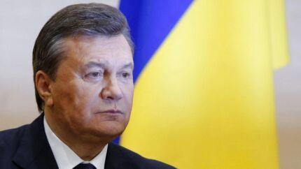 Den afsatte ukrainske præsident Viktor Janukovitj under sit pressemøde i den russiske by Rostov-na-donu.