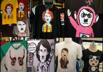 Tegneserie-parodierne over Adolf Hitler kan købes på t-shirts i alle afskygninger i hovedstaden Bangkok, hvor ungdommen ser ud til at nære samme barnagtige fascination til Hitler-myten som til den japanske tegneseriekat og verdensbrand, Hello Kitty.