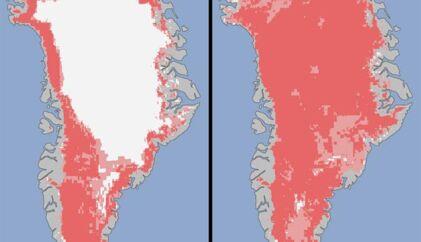 Grafik over Grønlands is 8. juli (til venstre) og 12. juli. I en periode på blot fire dage registrerede tre satelitter et »ekstraordinært« fænomen. Den 8. juli var cirka 40 procent af indlandsisens overflade smeltet, og allerede den 12. juli var hele 97 procent af isen væk.