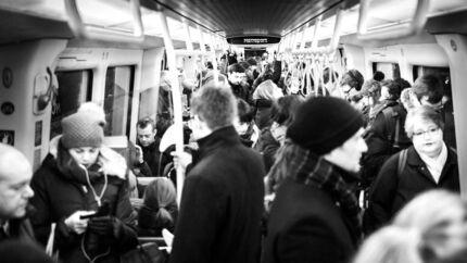 I en tid, hvor vejret er mørkt, koldt og glat af sne og is, tager en stor del af københavnerne metroen. Her ses mængden i myldretiden mellem klokken 08 og 09 på en tirsdag morgen mellem Kongens Nytorv og Nørreport.Klik videre og se flere billeder.